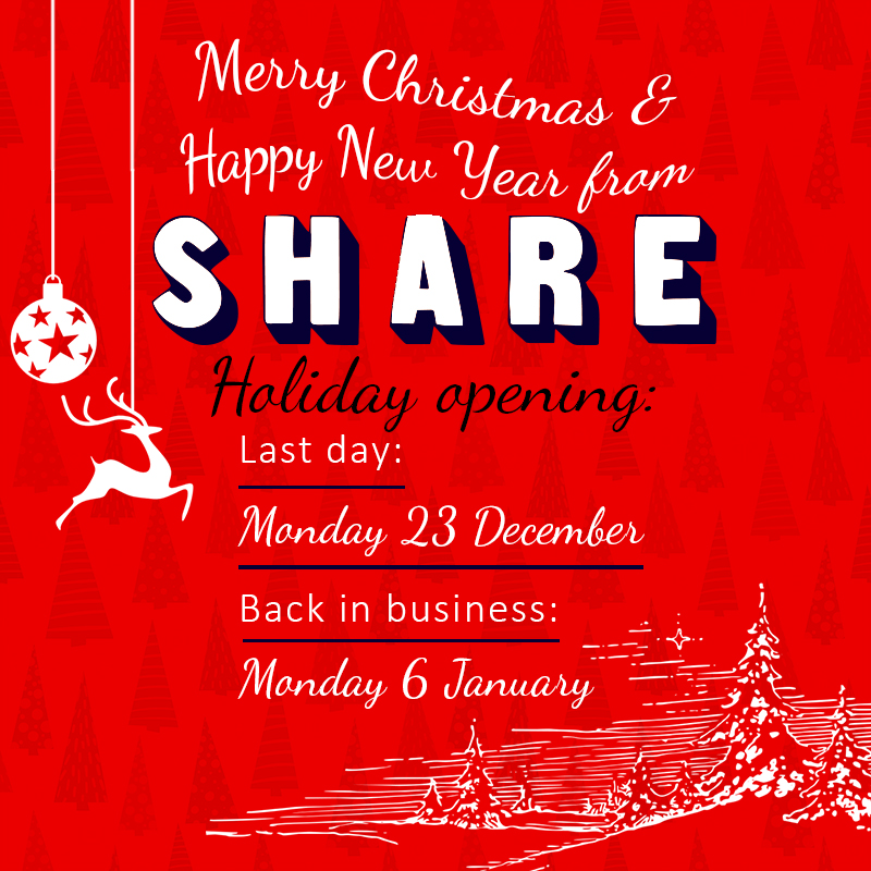 Share closes after 23 December and opens 6 January 2020